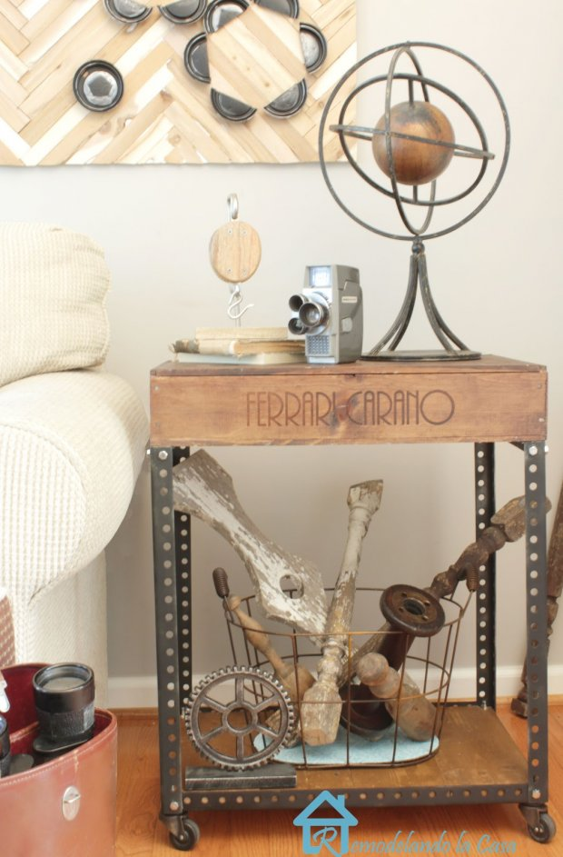 DIY Industrial Table from Wooden Wine Crate