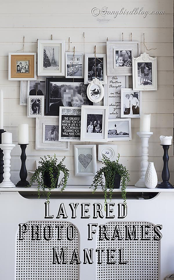 Layered Photo Frames Mantel Tutorial