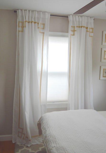 DIY No Sew Greek Key Curtains