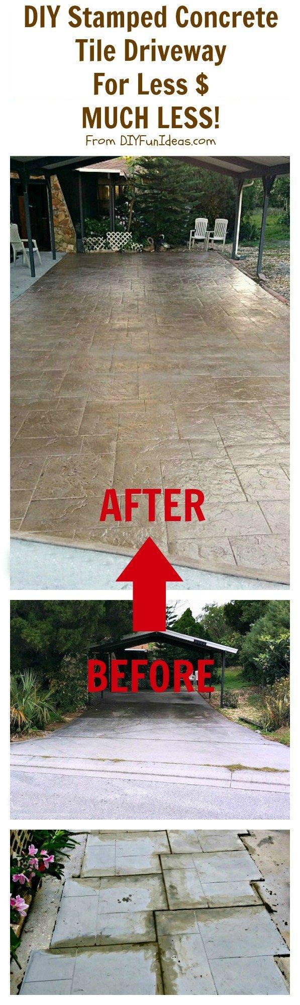 DIY Stamped Concrete Driveway