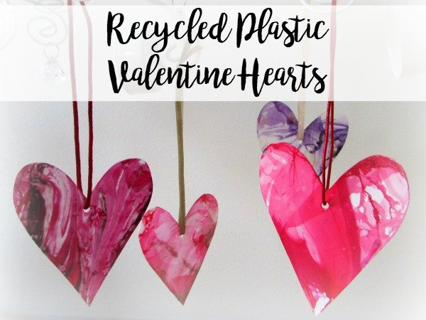 recycled plastic hanging hearts