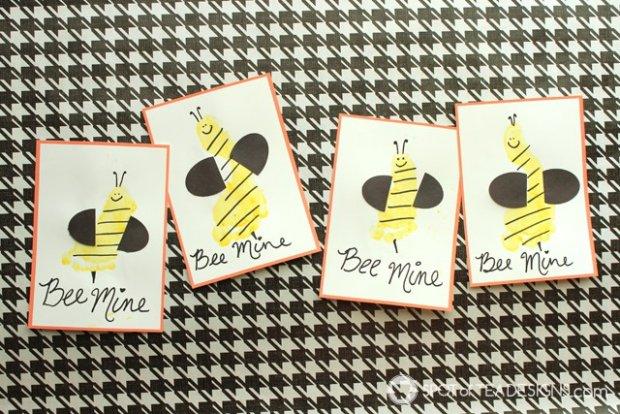 Bee Mine Footprint Valentine's Day Printable