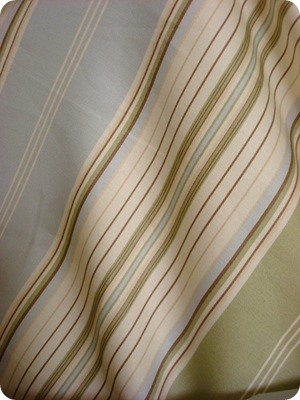 blue tan striped fabric