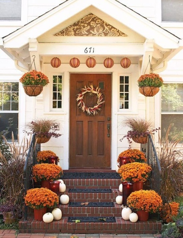 front porch : fall decorating ideas with pumpkins - www.pureclipart.com