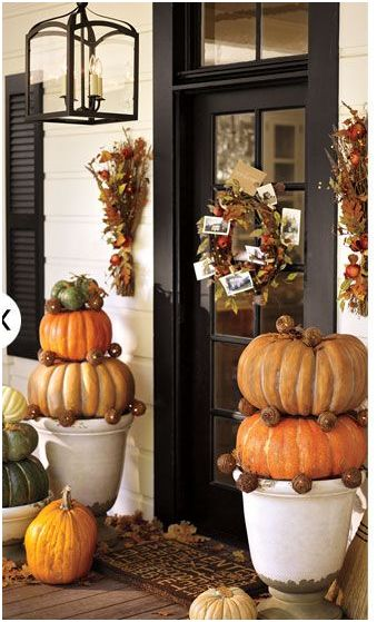 Pottery Barn. You inspire me with each season but I especially love you in the fall. The black and white porch is the perfect backdrop for the Cinderella ... & 22 Fall Front Porch Ideas veranda