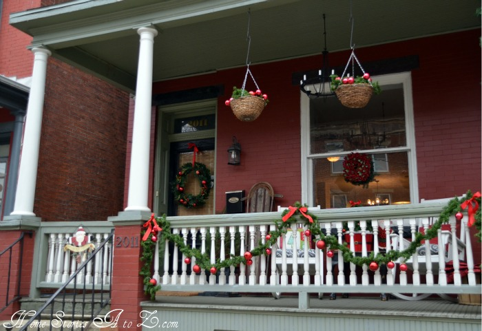 christmas front porch - Christmas Porch Railing Decorations