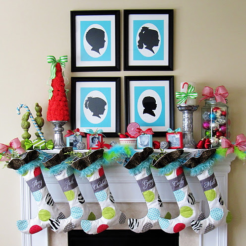 whimsical christmas mantel silhouette 11