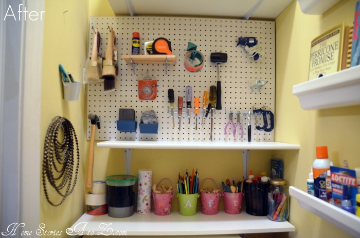 Getting organized and 100 lowes giveaway home stories a for Craft room pegboard accessories