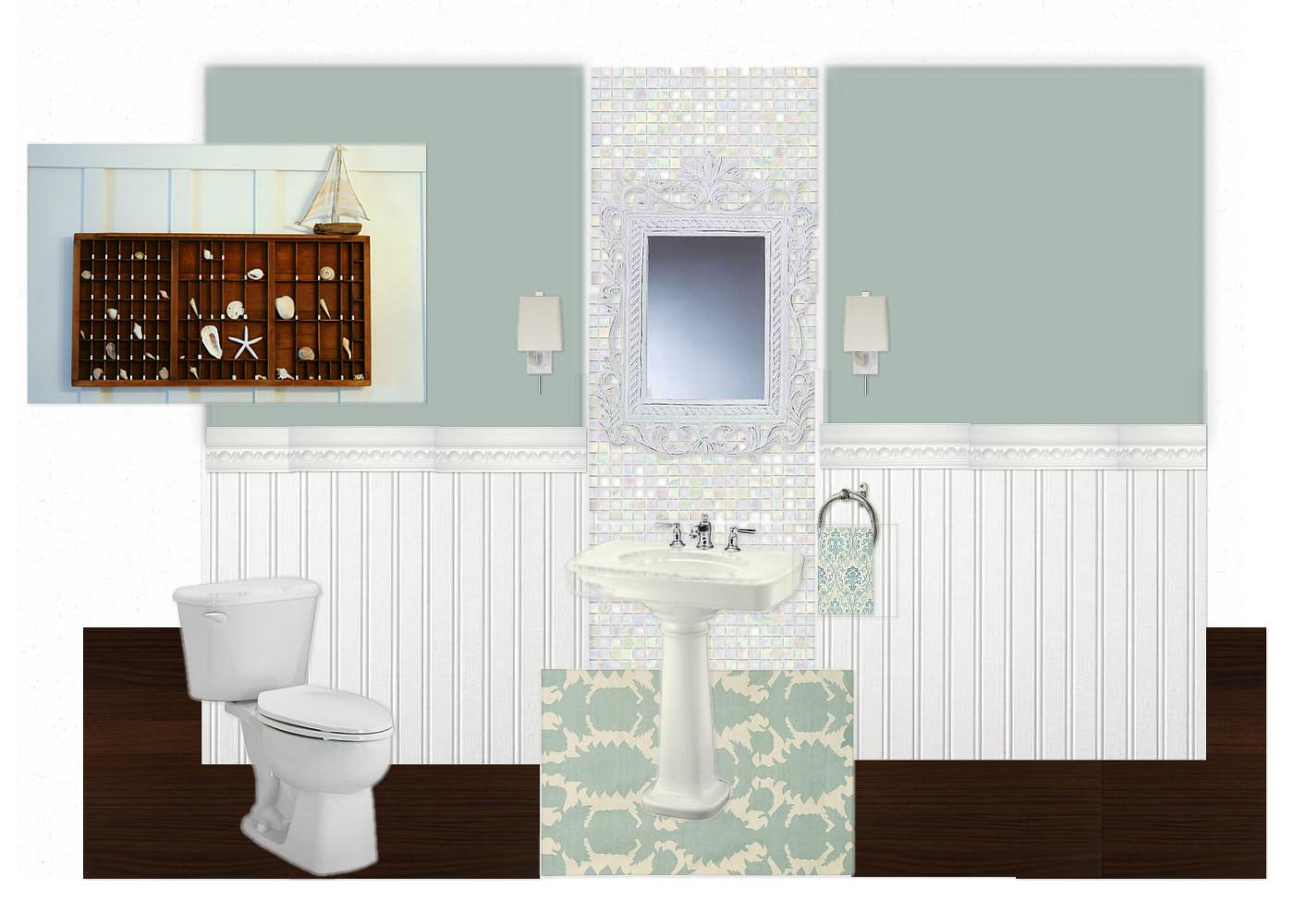 Bathroom half tiled half painted - Half Bath Update Home Stories A To Z