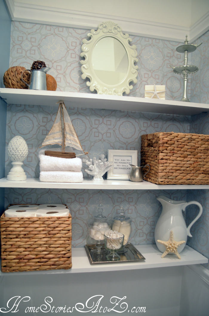 How to decorate shelves home stories a to z for Bathroom decor 2012