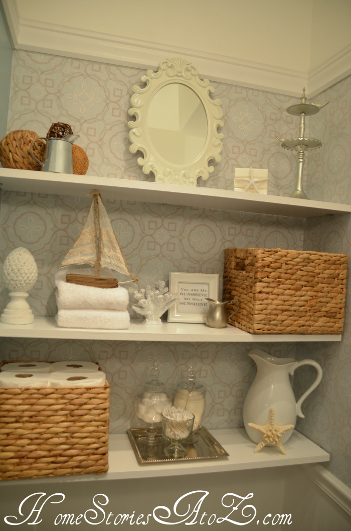 decorated bathroom shelves
