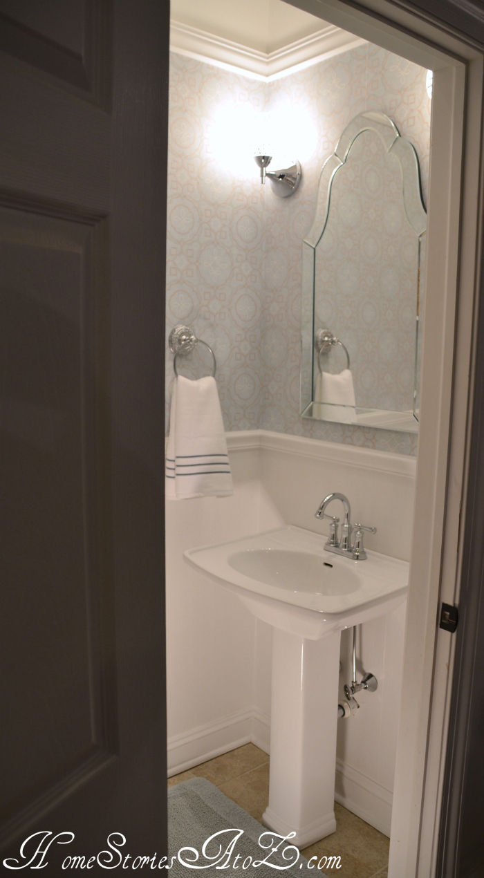 Half bath reveal powder room home stories a to z for Smallest powder room size