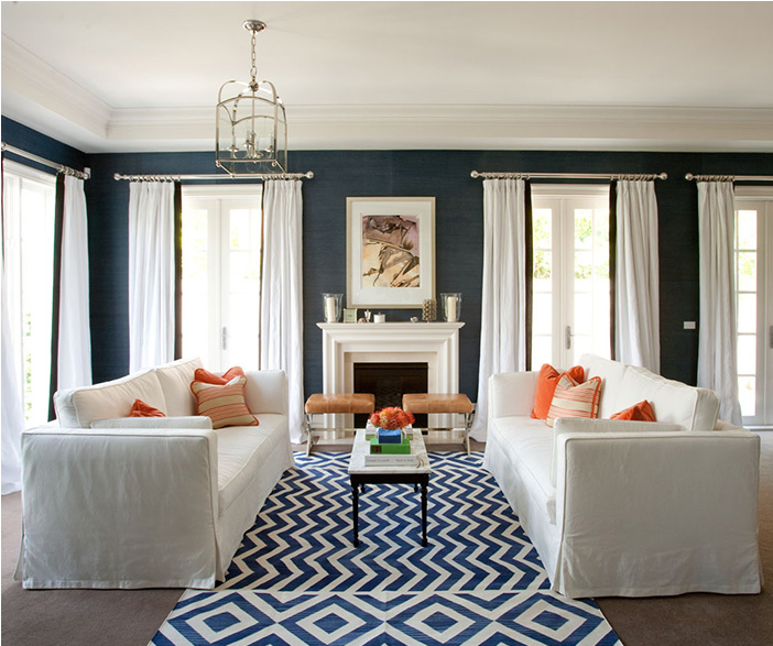 Trend Alert Grasscloth Wallpaper: Trend Alert: Navy & Orange
