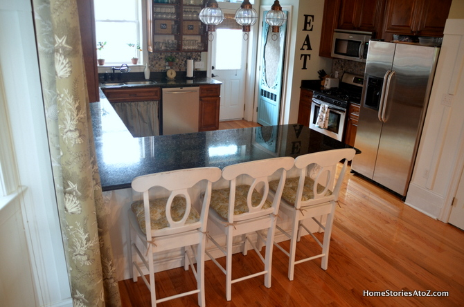 White Painted Kitchen Island & Pantry Screen Door {$100