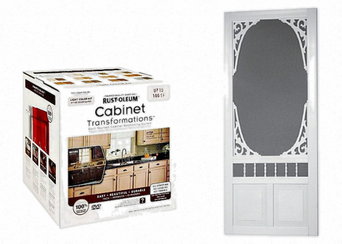 Kitchen Cabinet Paint Lowes white painted kitchen island & pantry screen door {$100 lowes