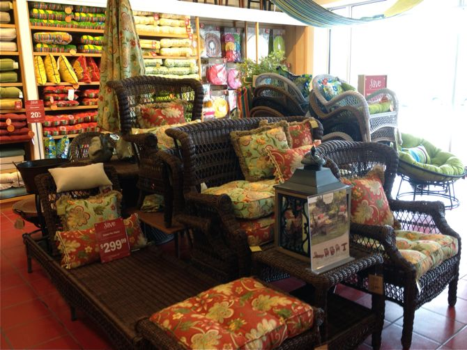 I really liked the pattern and colors of the Angelique cushions and I liked  the sale. Pier One Furniture Store