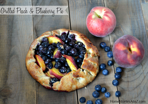 grilled peach & blueberry pie
