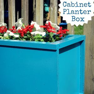 turn an old cabinet into a planter box