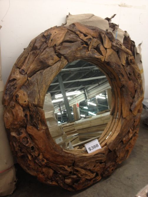 wood circle mirror