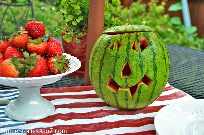 watermelon jack o'lantern