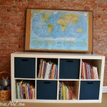 Expedit from Ikea {bin fabric painting}