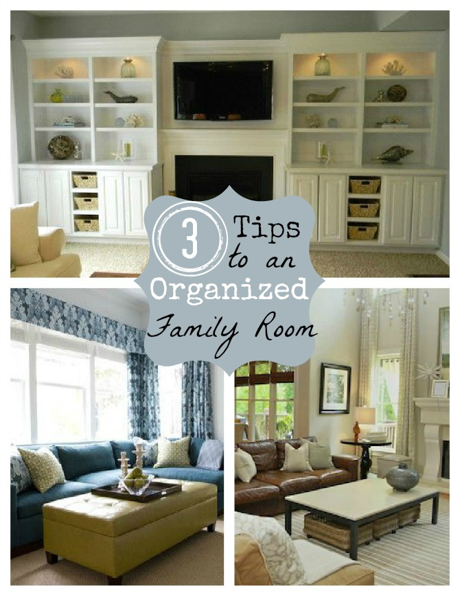 clutter free tips & 3 Creative Storage Solutions for the Family Room