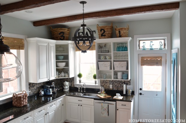white kitchen beams
