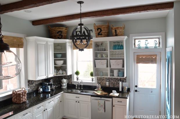 white kitchen beams