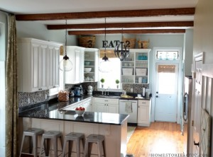 white kitchen with beams