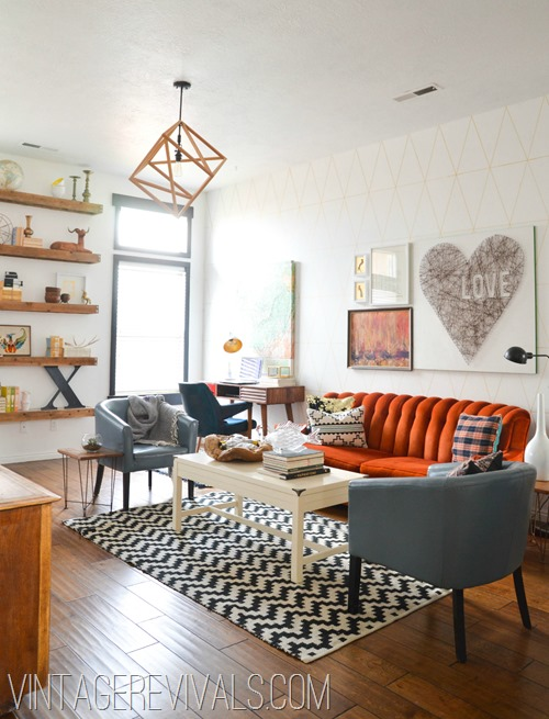Living rooms vintage home design for Living room ideas orange