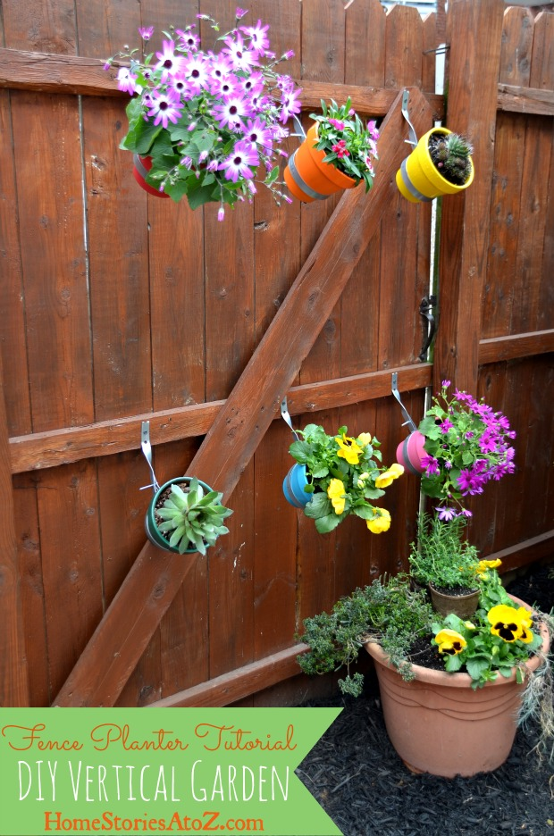Urban garden do it yourself fence planter home stories for Vertical garden planters diy