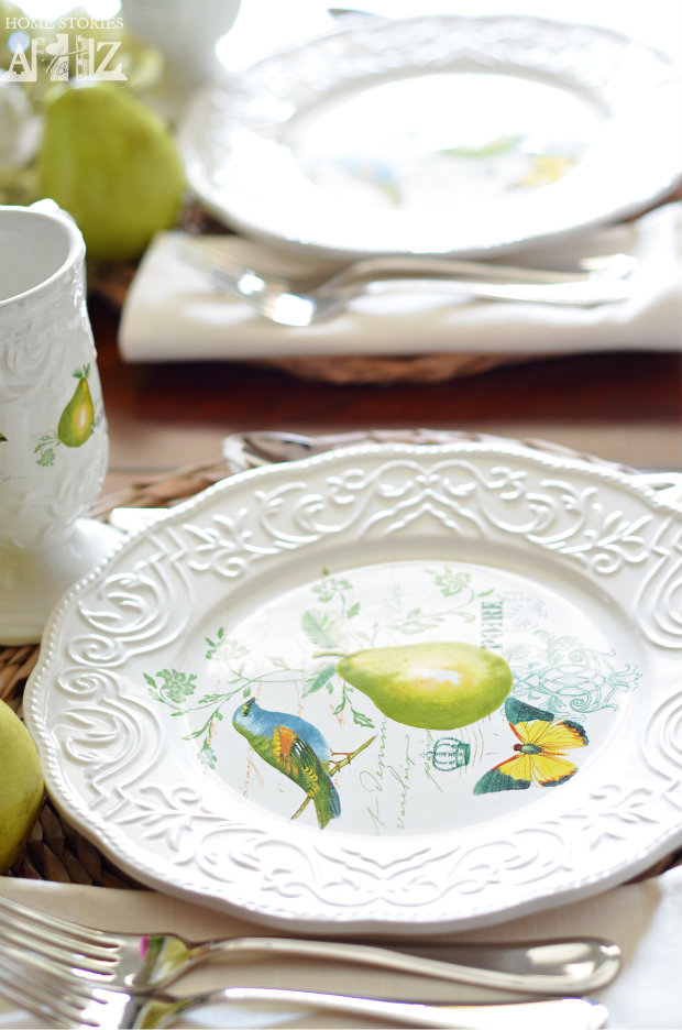 Antique Countryside Pear tablescape