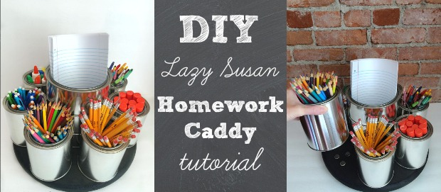 diy lazy susan homework caddy tutorial