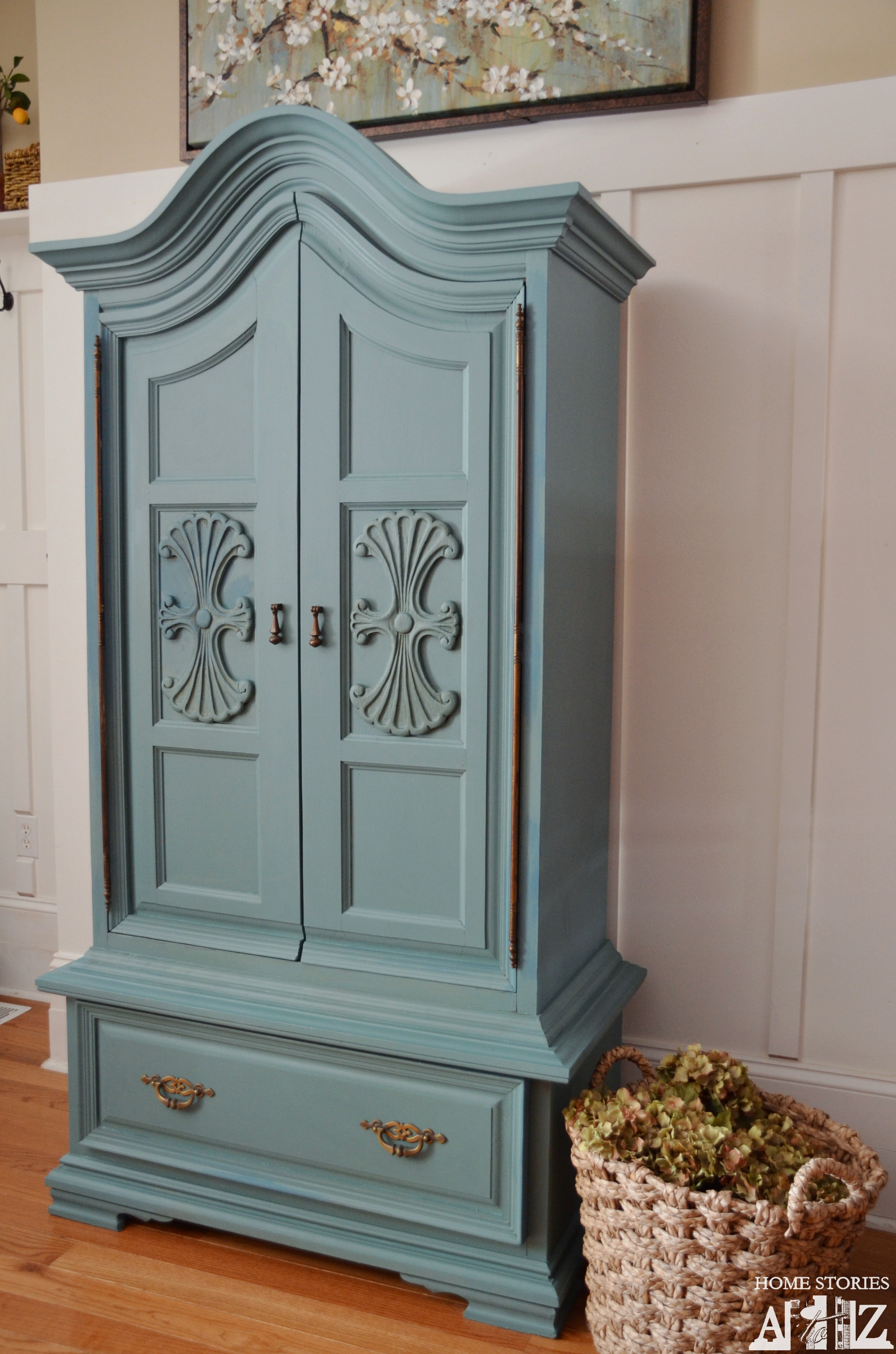 Chalk paint armoire on pinterest armoires french for Armoire tv