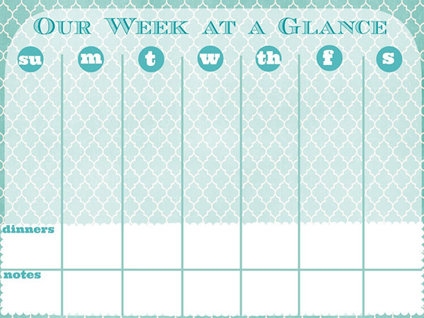 photo relating to Week at a Glance Template referred to as 7 days at a Seem Printable