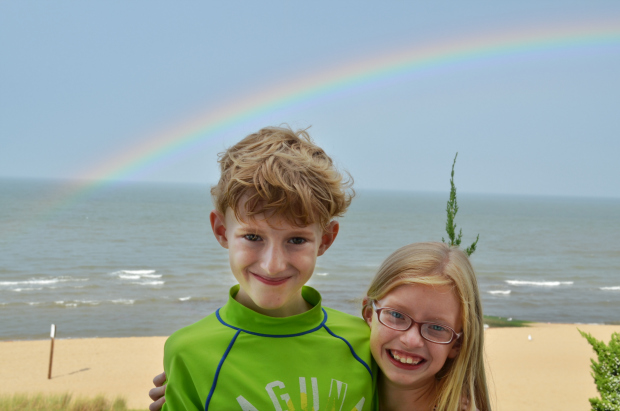 cousins under rainbow