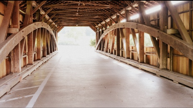 inside covered bridge