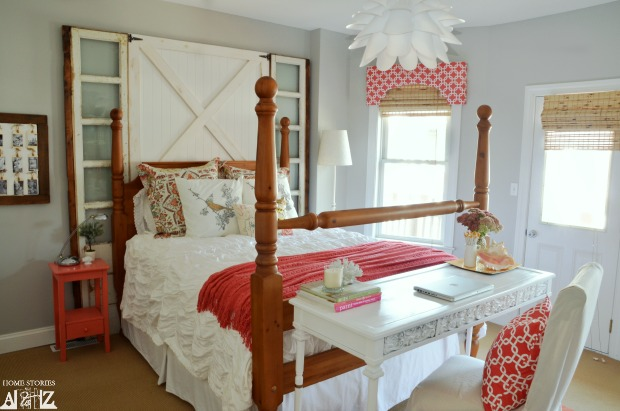 Coral and Gray Guest Room