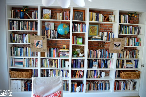 bookshelves styled