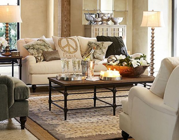 pottery barn gray and green living room