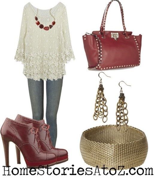 red cream fall outfit