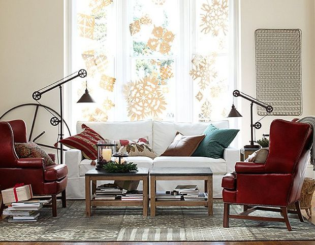 red cream living room pottery barn
