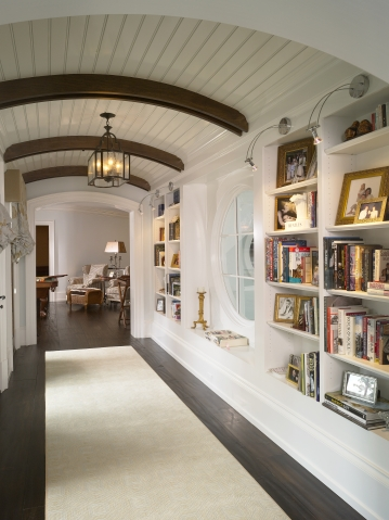 hallway with bookcases