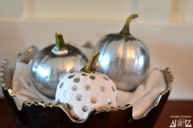 silver painted pumpkins