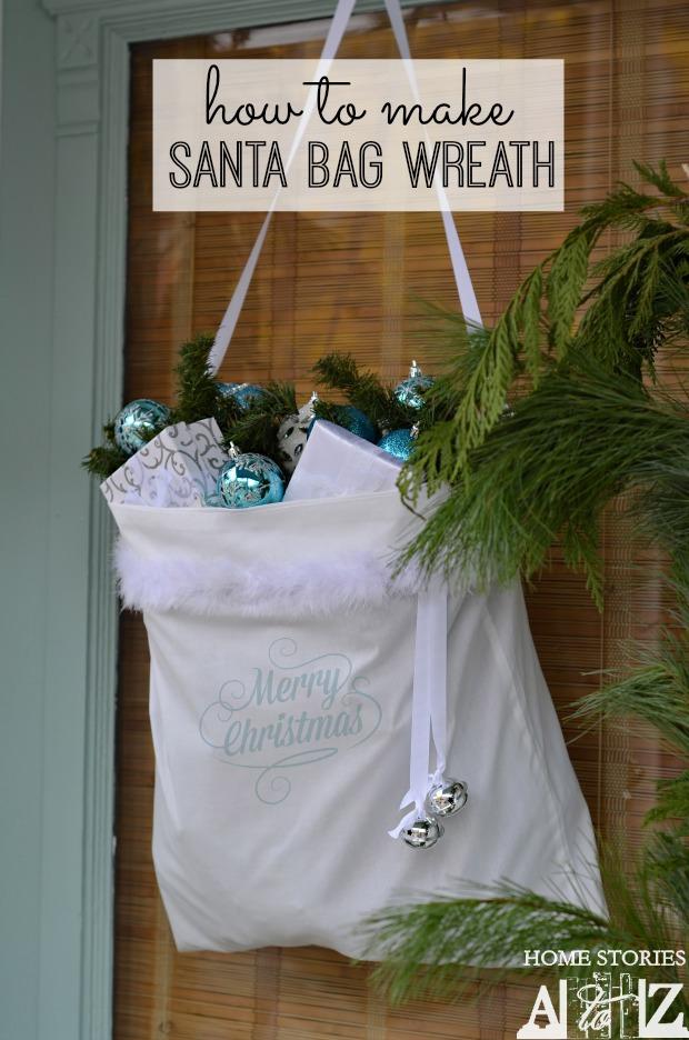 how to make a santa bag wreath home stories a to z. Black Bedroom Furniture Sets. Home Design Ideas