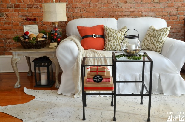 Pottery Barn nesting tables as coffee table