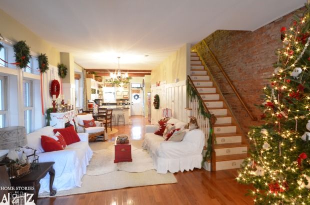 christmas home tour red white