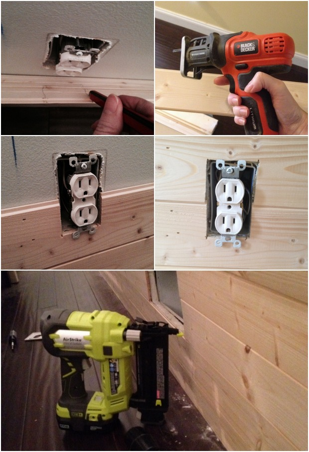 diy plank wall cutting around obstacles