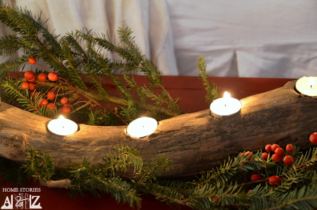 log candle holder teal light log