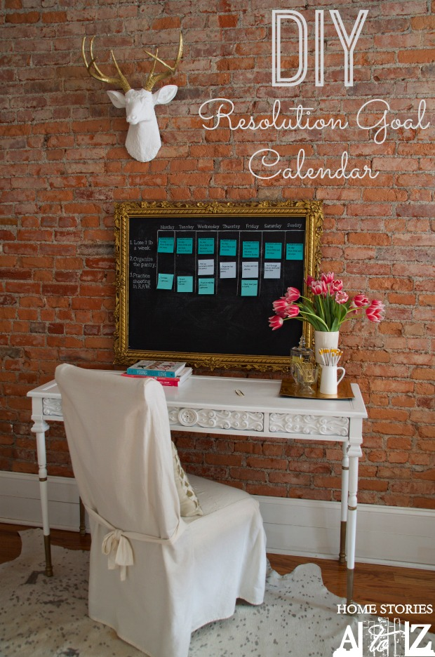 DIY resolution goal calendar
